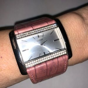 """Guess Womens Watch Leather Band With Crystals 8"""""""